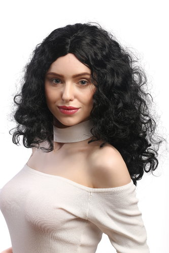 3072-P103 Lady Party Wig Halloween Fancy Dress massive black volume curls middle parting long 22""