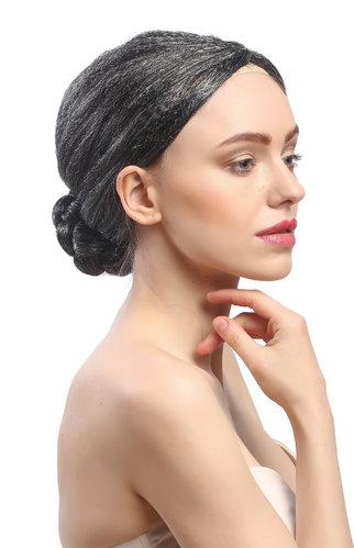 Lady Party Wig Fancy Dress black grey strands hairbun Governess Prima Ballerina Piano Teacher