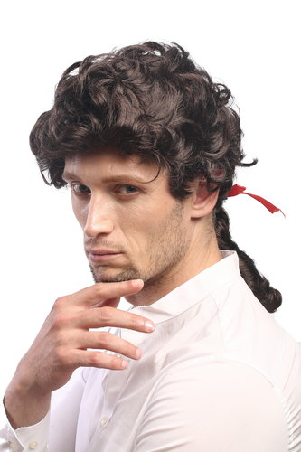 Man Lady Party Wig Casanova Baroque Renaissance short with ponytail ribbon Poet Court Lord brown