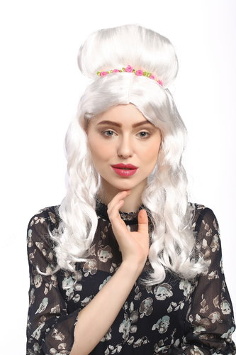 Lady Party Wig Halloween Fancy Dress baroque renaissance beehive white princess queen hairband