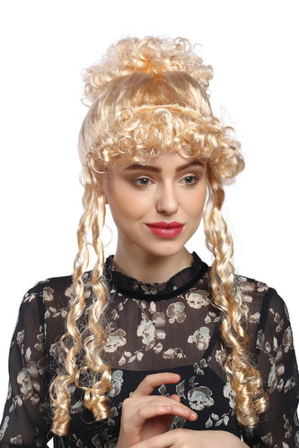 Lady Party Wig Halloween Fancy Dress historic Renaissance Baroque Victorian blond beehive curls