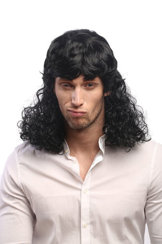 Lady or Man Party Wig for Halloween Fancy Dress very long black Mullet long dense curly hair 20""