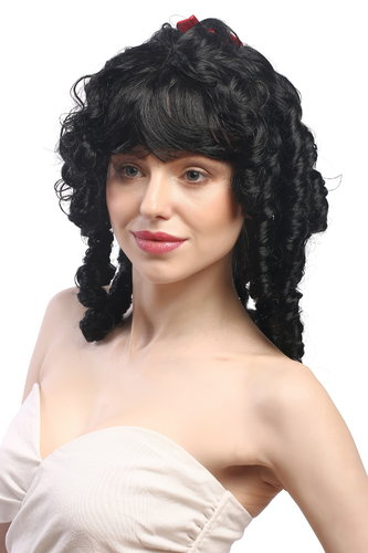 Lady Wig Fancy Dress Victorian Colonial romantic style black + ribbon coils curls Gothic Lolita