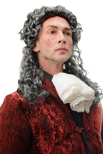 68838-P103/68 Man Lady Party Wig Halloween historic baroque long curly grey mix mullet 20""