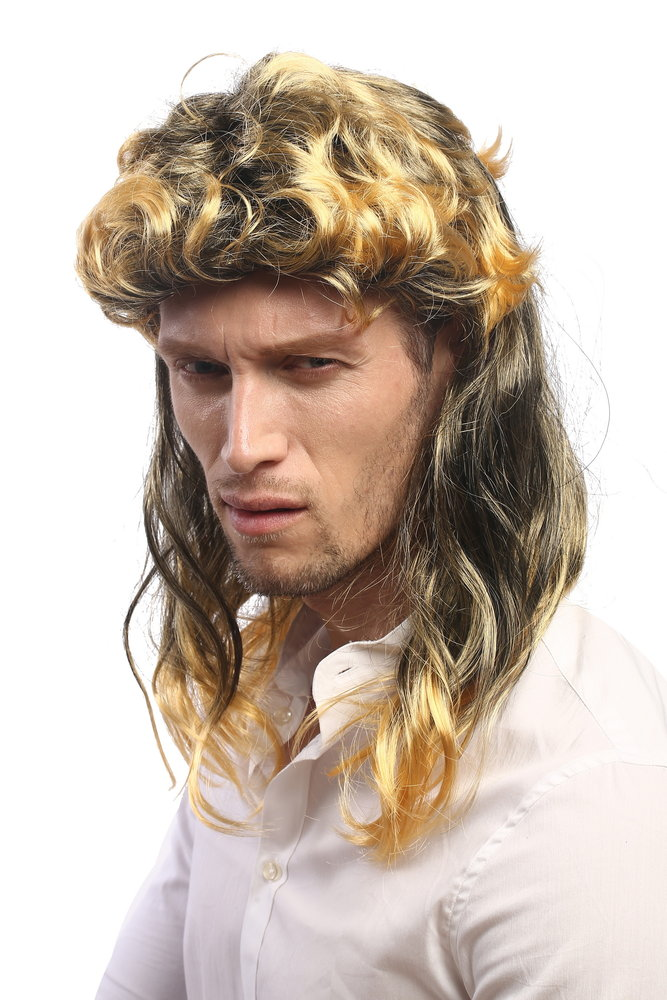 Party Wig for Ladies   Men Halloween mullet 80s black and gold blond  strands highlight curly wavy 96f9937f4f