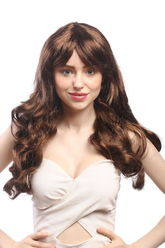 91164-ZA30A-ZA2 Party Wig Halloween Fancy Dress long glamorous way Diva chestnut mahoganu brown 23""