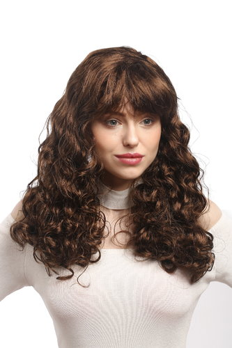 Lady Party Wig Fancy Dress Southern Belle 50s Pin-Up Star Burlesue brown long volume curls bangs