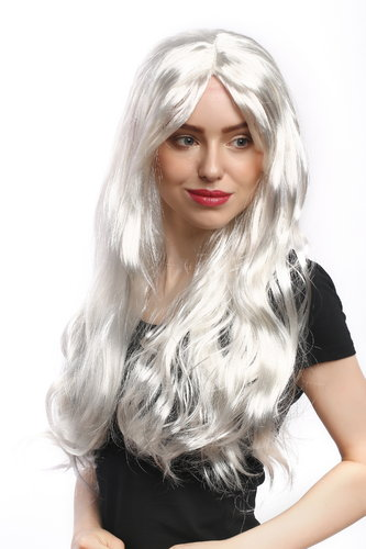 Lady Party Wig Fancy Dress silvery white long straight hair Snow Queen Ice Princess middle parting