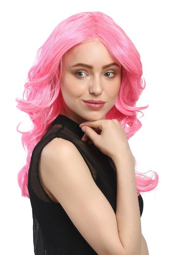 Lady Party Wig Halloween Fancy Dress glamorous pink Diva middle parting layered wavy long 20""