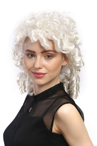 Lady Party Wig Halloween historic Cosplay Baroque Victorian Gothic style curls coils white