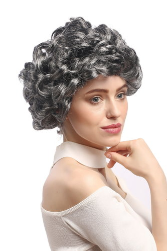 Lady Party Wig Halloween Fancy Dress grey curls full volume Granny old older High Society Dame