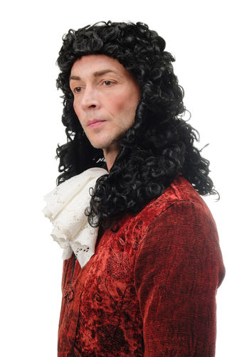 Man Gents Party Wig Fancy Dress Baroque Renaissance curls black Lord Prince King Aristocrat Noble