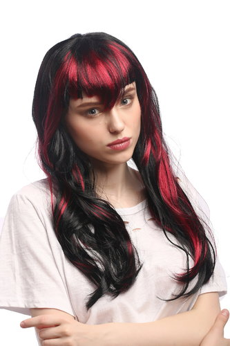 Lady Fancy Dress Wig gothic witch black red strands Vampire She-Devil Dark Fairy pointy fringe 20""
