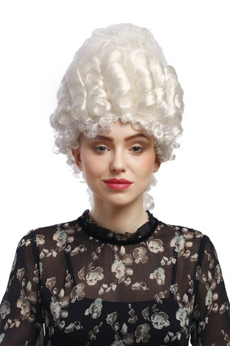 Lady Party Wig Fancy Dress Baroque Renaissance Beehive white Marie Antoinette Queen Aristocrat