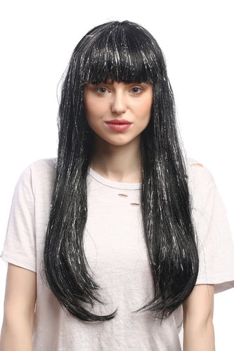 Lady Party Wig Fancy Dress long black with silver strands bangs straight Sci-Fi Android Disco Doll