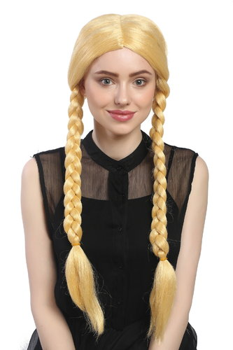 Lady Party Wig Fancy Dress gold yellowish blond long braided pigtails girly Lolita Schoolgirl