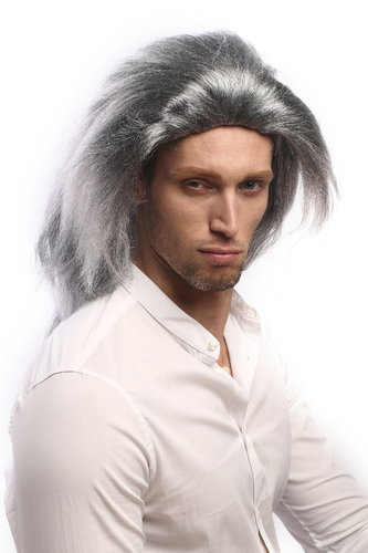 90760 Man Lady Halloween Fancy Dress Wig long black grey backcombed mane Vampire Dracula Demon 17""
