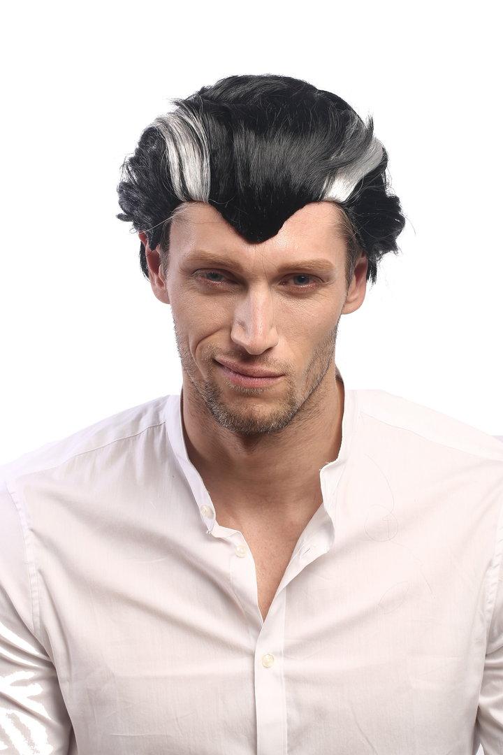 Xh 820 Za103 Za68a Men Party Wig Halloween Short Black Grey Streaked Vampire Count Dracula