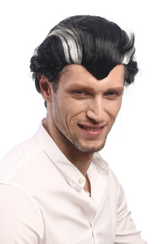 XH-820-ZA103-ZA68A Men Party Wig Halloween short black & grey streaked Vampire Count Dracula