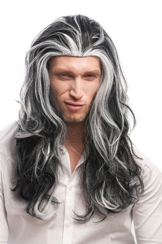Lady or Man Party Wig Halloween Fancy Dress long wavy black with grey white streaks strands