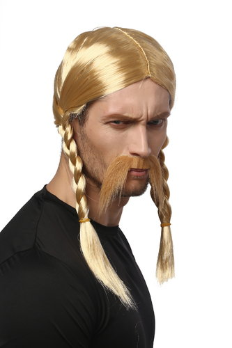 Man Gents Party Wig & Mustache Set Halloween Fancy Dress blond long braids braided Gaul Viking Celt