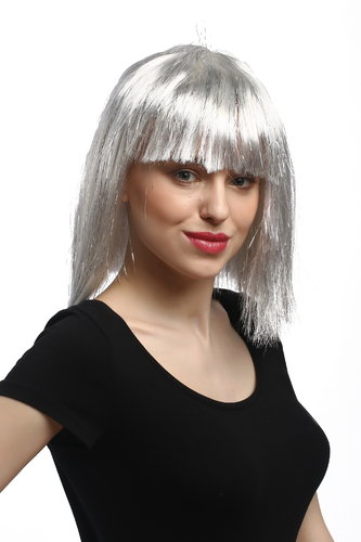 90658-ZA68-silver Lady Party Wig Halloween Sexy Sci-fi Disco Android grey with silver strand fringe