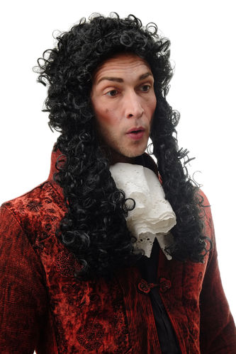 Man Gents Party Wig Fancy Dress Baroque Lord Renaissance long black curls Noble French King