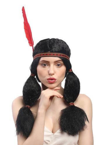 Lady Party Wig Fancy Dress Native American Apache Sioux Girl Maiden black 2 plaits headband feather