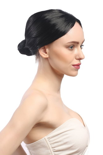 Lady Party Wig Fancy Dress black hairbun Governess Prima Ballerina ballet dancer Piano Teacher
