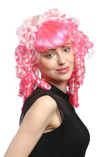 Lady Party Wig Halloween Fancy Dress Pink Baroque Gothic Lolita bangs fringe long coiling curls