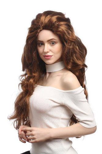 Lady Party Wig Fancy Dress huge and very long,voluminous backcombed wavy redish copper brown