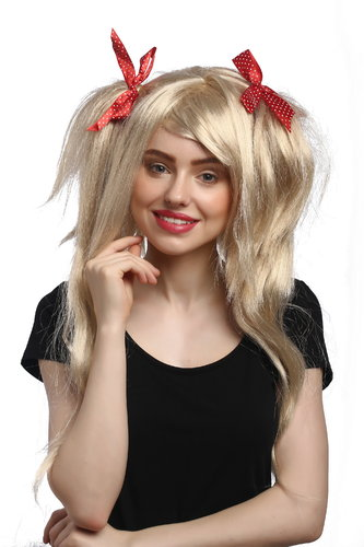 Lady Party Wig Halloween Fancy Dress blond wild voluminous Lolita style pigtails with red ribbons