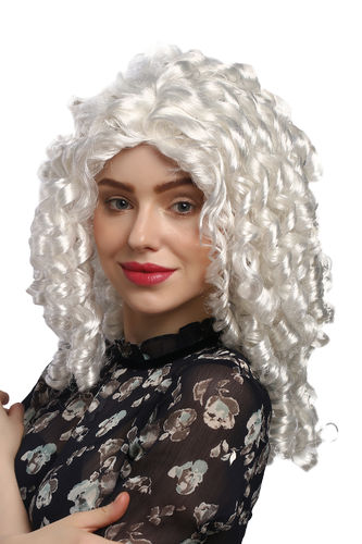 Lady Party Wig Fancy Dress Baroque Victorian Gothic Lolita white coiling curls Queen Noble Woman