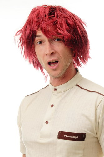91081 Lady or Man Party Wig Halloween Cosplay shaggy brown red mix dumb dumber goofy nerdy look