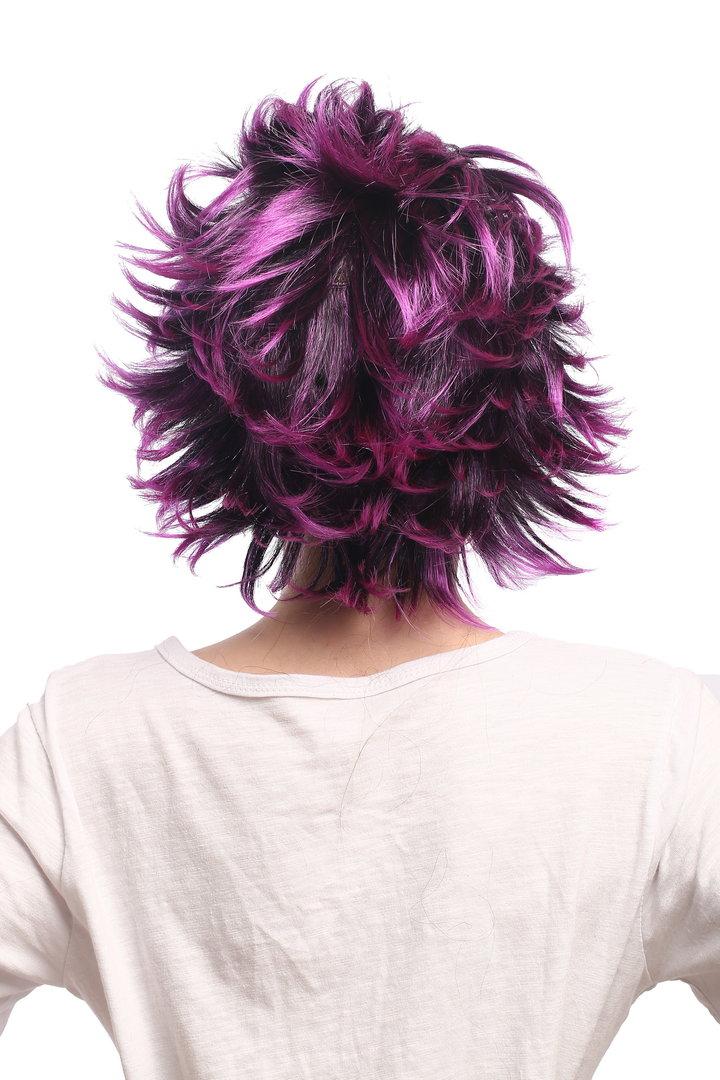 schwarze haare mit violetten strähnen