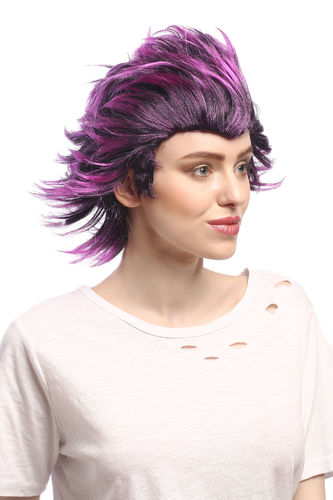 Lady or Man Party Wig Halloween Cosplay black purple strands wind backcombed punk emo