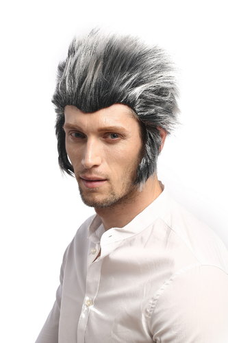 Men Party Wig Halloween Storm Wolfman Werewolf Wolf sideburns backcombed grey & black