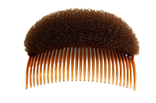 RH-047-brown bun cushion with comb for buns hair do volume backcombed brown 4x2 inches