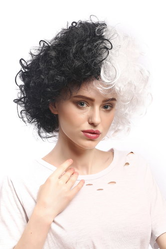 Lady Party Wig Evil Diva Bride of Frankenstein curly unruly mass of hair half black half white