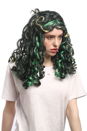 Lady Party Wig Fancy Dress Cosplay Mermaid green blond strands baroque coils curls middle parting