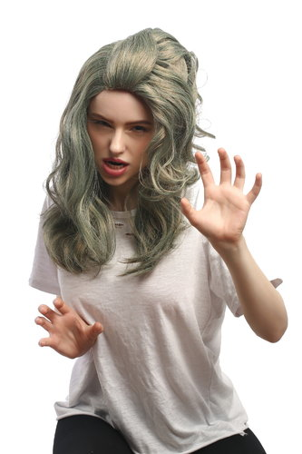Lady Party Wig Grey Green Mermaid Siren Water Sprite Underwater Zombie Alien long wavy hair