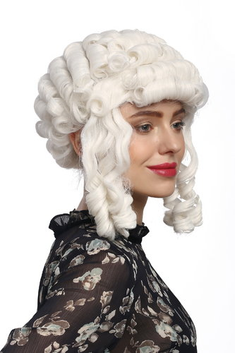 Lady Party Wig Halloween Cosplay Baroque Colonial Victorian curls coils strands white Pompadour