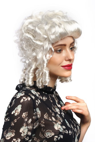 Lady Party Wig Fancy Dress Baroque Renaissance Colonial Era curls coils strands Queen Aristocrat