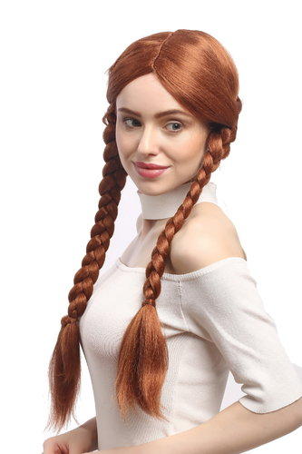 90839-ZA130B Lady Party Wig Halloween copper red redbbrown long think braided pigtails 25""