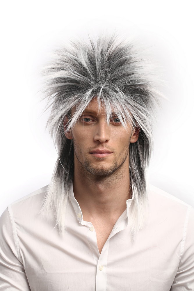 Men   Ladies Party Wig Halloween 80s Punk Wave Pop Star Black   Grey  backcombed spiky mullet a39d40ff8
