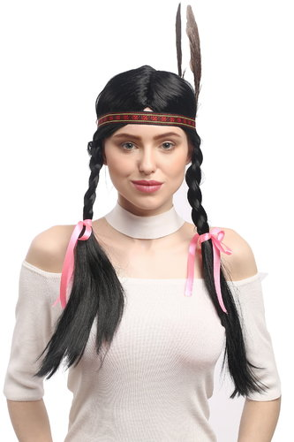 Lady Party Wig Fancy Dress Indian woman Native American Squaw long BRAID pigtails headband feather
