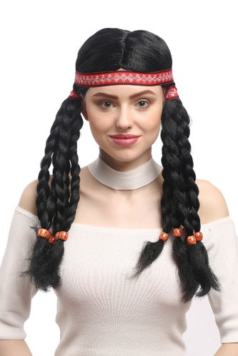 Lady Party Wig Fancy Dress Indian woman Native American Squaw Hippie long braided strands headband