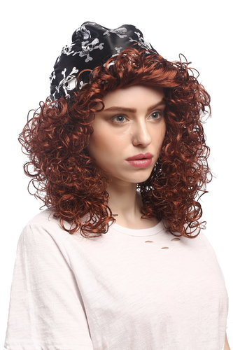 Lady Party Wig Halloween Fancy Jenny Pirate Queen curly wild reddish brown volume bandana