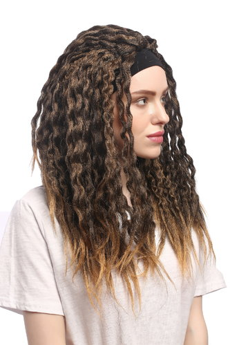 Lady Party Wig Halloween Headband Dreadlock Caribbean Reggae Rasta Style brown brigher ends long