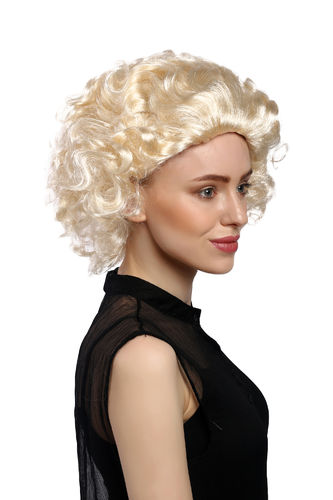 Lady Party Wig Halloween Fancy Dress bright blond short curly quiff movie star vintage retro 50s
